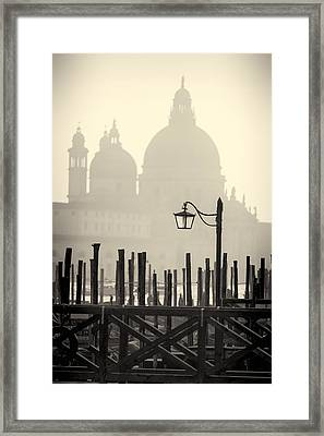 Black And White View Of Venice Framed Print