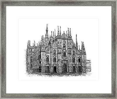 Black And White With Pen And Ink Drawing Of Milan Cathedral  Framed Print by Mario Perez