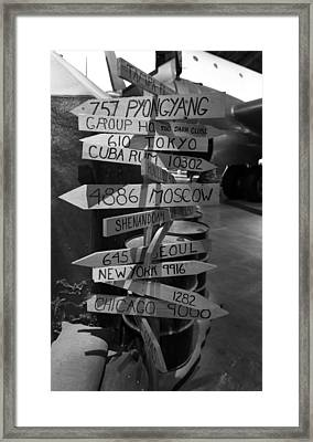 Black And White World Directions Framed Print by Dan Sproul