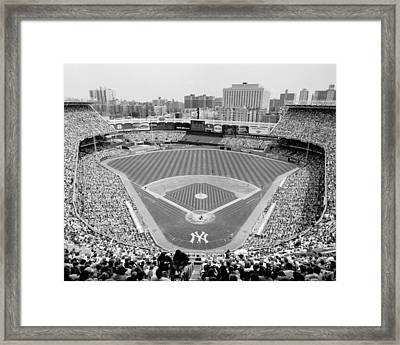 Black And White Yankee Stadium Framed Print