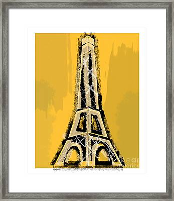 Black And Yellow Eiffel Tower Paris Framed Print