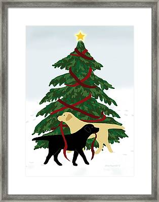 Black And Yellow Labs Trim Christmas Tree Framed Print