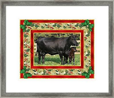 Black Angus Cow And Calf Blank Christmas Greeting Card Framed Print by Olde Time  Mercantile