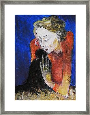 Black Bird After Picasso. Framed Print by Alicja Coe