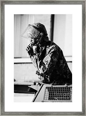 Black British Army Soldier In Turret Of Saxon Vehicle Speaking On Intercom On Crumlin Road At Ardoyn Framed Print by Joe Fox