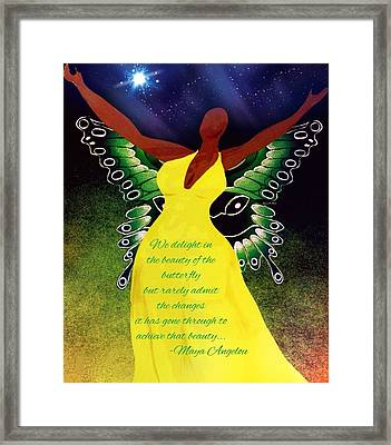 Black Butterfly - Tribute To Maya Angelou Framed Print