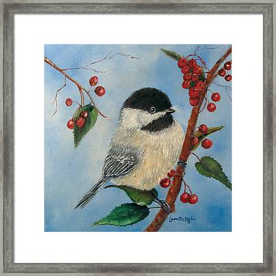 Black Capped Chickadee And Winterberries Framed Print