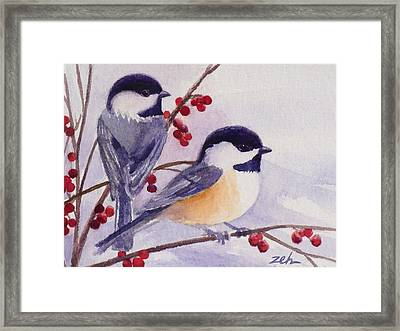 Black-capped Chickadees Framed Print by Janet  Zeh