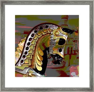 Black Carousel Horse Framed Print by Charles Shoup