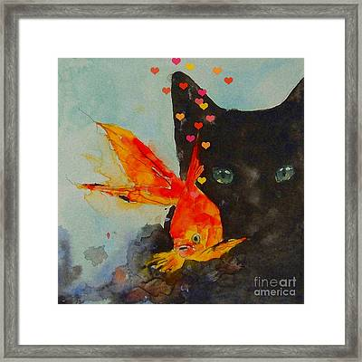 Black Cat And The Goldfish Framed Print