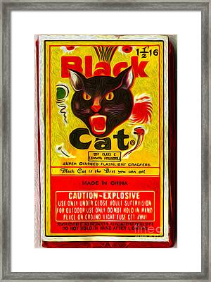 Black Cat Fireworks Framed Print