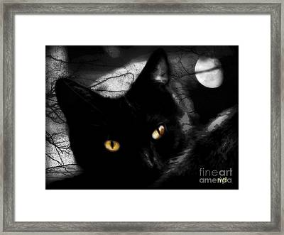 Framed Print featuring the digital art Black Cat Golden Eye by Mindy Bench