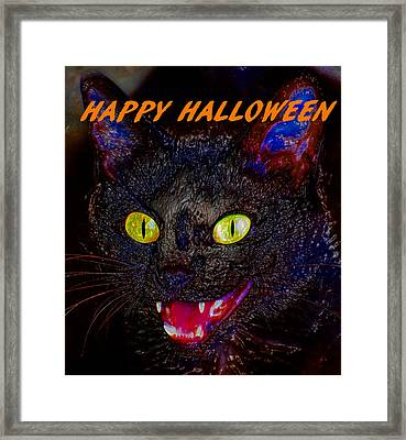 Black Cat Halloween Card Framed Print by David Lee Thompson