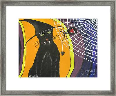 Black Cat In A Hat  Framed Print by Jeffrey Koss