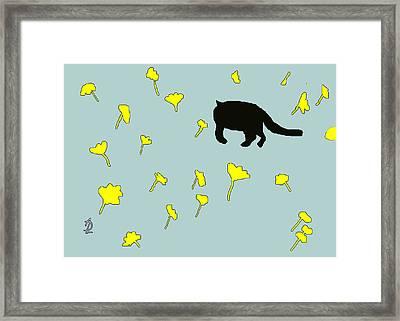 Black Cat In Spring Framed Print