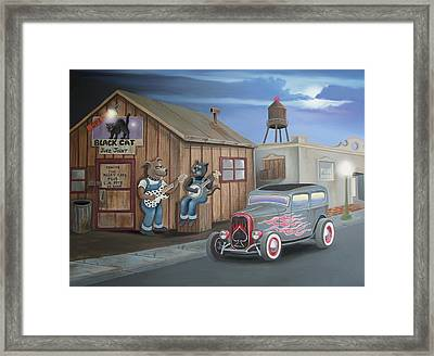 Black Cat Juke Joint Framed Print