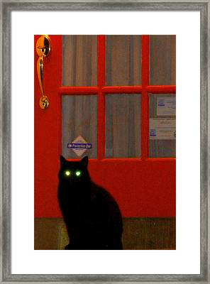 Black Cat Red Door Framed Print by DerekTXFactor Creative