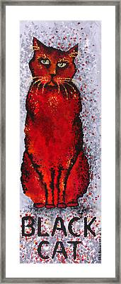 Black Cat Red Framed Print by Michelle Boudreaux