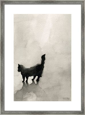 Black Cat Watercolor Painting Framed Print