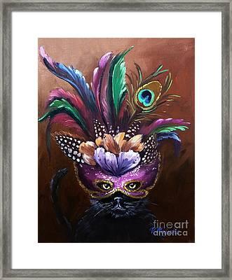 Black Cat With Venetian Mask Framed Print