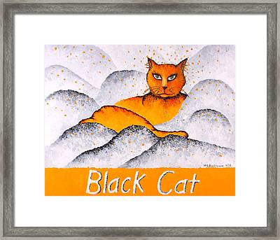 Black Cat Yellow Framed Print by Michelle Boudreaux