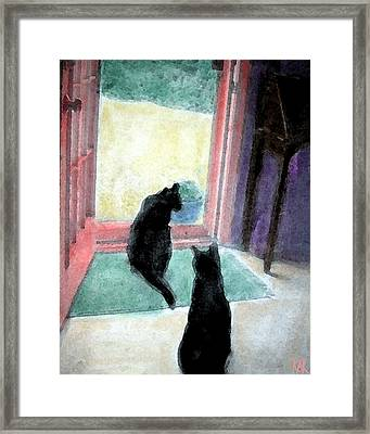 Black Cats Framed Print by Art by Kar