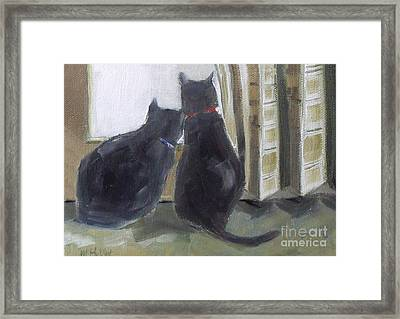 Black Cats  Framed Print by Mary Hubley