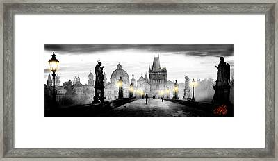 Black Charles Bridge  Framed Print by Dmitry Koptevskiy