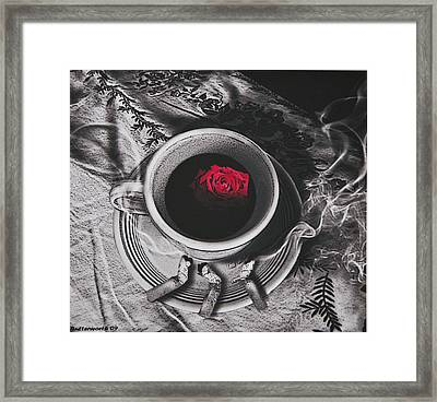 Black Coffee And Roses Framed Print by Larry Butterworth