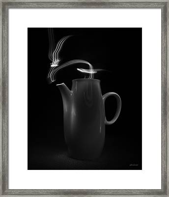 Framed Print featuring the photograph Black Coffee Pot - Light Painting by Steven Milner