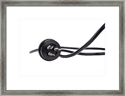 Black Cord Plug Framed Print by Tim Hester