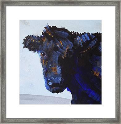Black Cow Head Framed Print