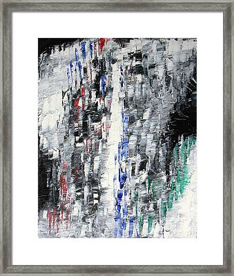 Black Crystal Cave - Black White Abstract By Chakramoon Framed Print by Belinda Capol