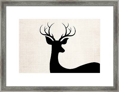 Black Deer Silhouette Framed Print by Chastity Hoff