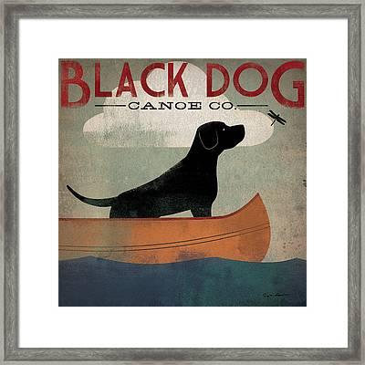 Black Dog Canoe Framed Print