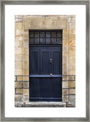 Black Door In Monflanquin Framed Print by Georgia Fowler