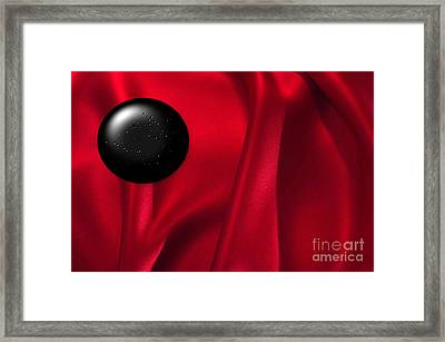 Black Dot On Red Silk Framed Print