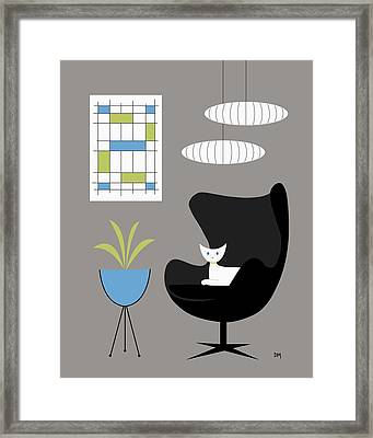 Black Egg Chair Framed Print