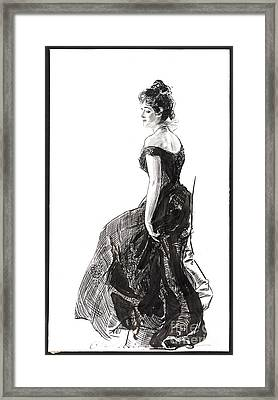 Black Evening Dress 1901 Framed Print by Padre Art