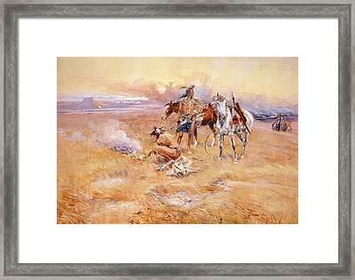 Black Feet Burning The Buffalo Range Framed Print by Charles Russell