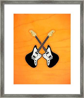 Black Fender Jaguar  Guitar Framed Print
