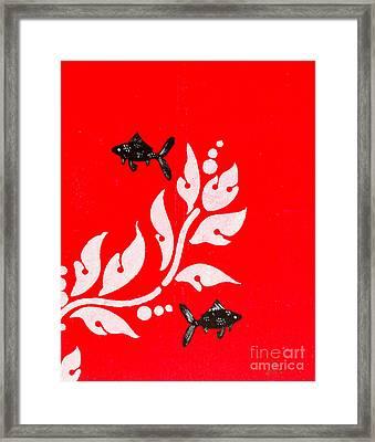 Black Fish Left Framed Print by Stefanie Forck