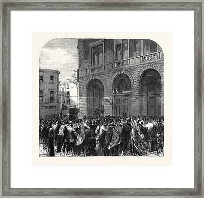 Black Friday The Monetary Panic In The City Scene Framed Print by English School