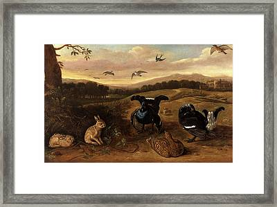 Black Game, Rabbits, And Swallows In A Park Black Game Framed Print by Litz Collection