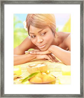 Black Girl On Spa Resort Framed Print