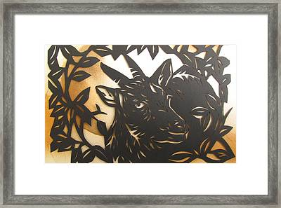 Black Goat Cut Out Framed Print by Alfred Ng