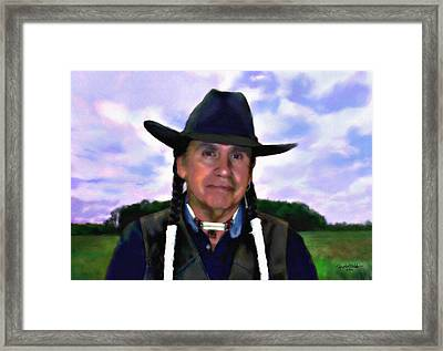 Black Hat And White Braids Framed Print by Spyder Webb