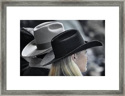 Black Hat Blond Hair Framed Print by Joan Carroll