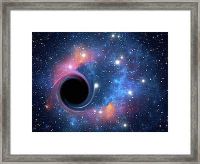 Black Hole Against Starfield Framed Print