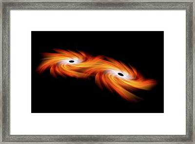 Black Holes Merging In Space Framed Print